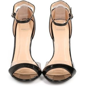 Adele Black Patent Leather Open Toe Heels